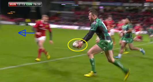 Henshaw can be seen here carrying the ball in two hands, a vital skill for hiding his intentions to the defender. This is something the All Blacks do throughout the team, and it is under the tutelage of Pat Lam and his coaches that Connacht are doing this more and more. The gap between Earls and Chisholm has widened, with Earls now practically straight in front of Henshaw. He has already overcommitted, and if Henshaw were to stay outside him it appears to us that Earls' head would be the wrong side in the tackle (something he does all too often for our liking)