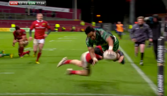 Aki had some work to do still, even after Henshaw's pass. What a finish though, diving and keeping his feet off the ground while controlling the ball. Great awareness and athleticism from the New Zealander. He has proven already to be a shrewd acquisition by Pat Lam and the Connacht men.