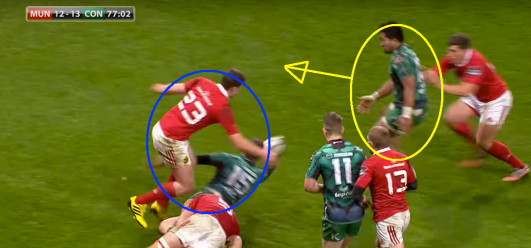 Unfortunately, Keatley didn't have a Henshaw offload on his mind. From his current position, Bundee Aki (circled in yellow) can not hit the ruck legally, if at all. Instead, Henshaw finds him with a fabulous, deft, delayed offload and sends Aki on his way.